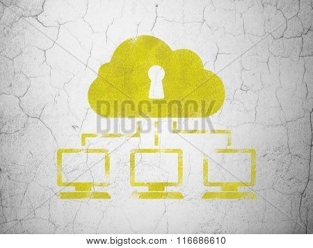 Safety concept: Cloud Network on wall background
