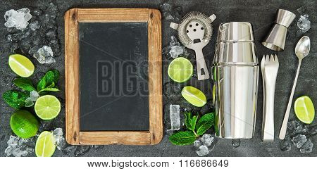 Drink Making Tools Ingredients Lime Mint Blackboard