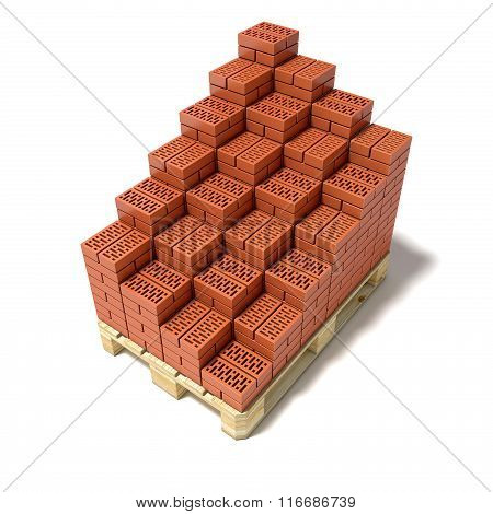 Euro pallet and cascade arranged ceramic bricks. 3D