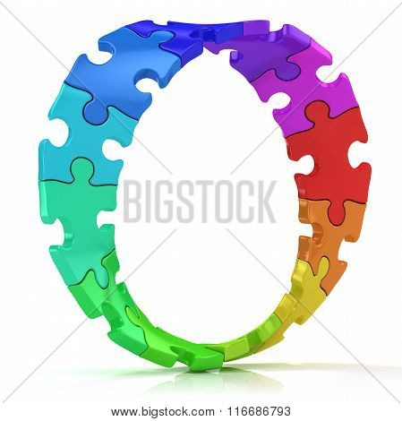 Twisted circle of colorful jigsaw puzzles