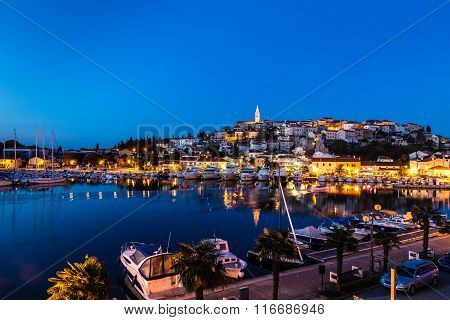 Beautiful View Of Vrsar Port And Vrsar Village With Landmark Of Church Tower After Sunset-IstriaCroatiaEurope