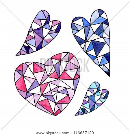 Set Of Watercolor Faceted Heart