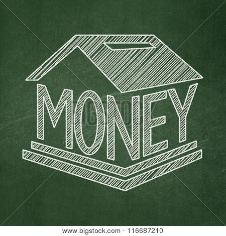 Currency concept: Money Box on chalkboard background
