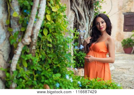 Tanned  Pregnant Girl Tourist In A Bright Dress Near Tropical Lianas And Old Stone Buildings Of The