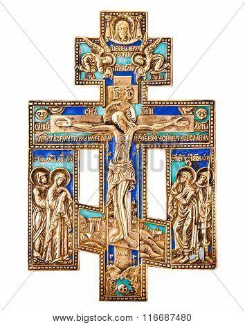 Antique orthodox brass cross