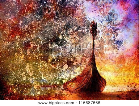 Viking Boat On The Beach, Painting On Canvas, Boat With Wood Dragon. And Structure Background, Red,
