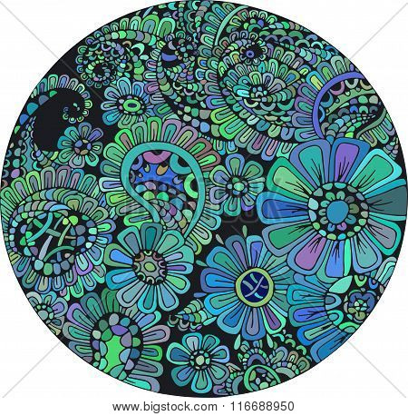 Stylized floral abstract floral wave ornaments