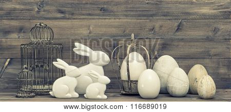 Easter Bunny And Easter Eggs Decoration