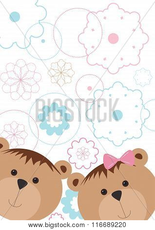 Isolated pattern with bears and flowers