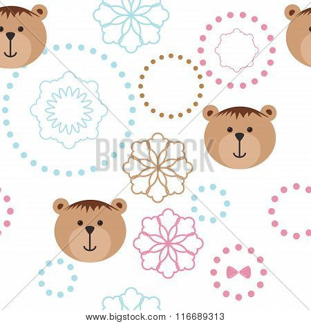 Seamless isolated pattern with bears