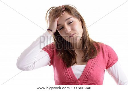 Young Woman, Eyes Closed, Having A Headache