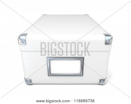 White leather closed box with chrome corners and blank label. Front view. 3D