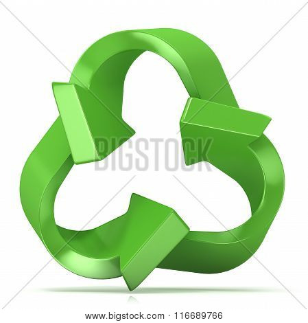 Green recycle sign three arrows