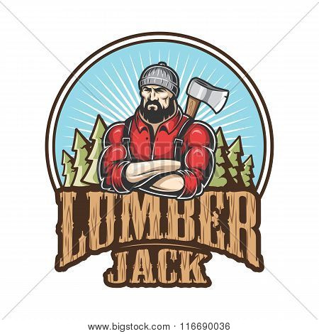 Vector illustration of lumberjack emblem