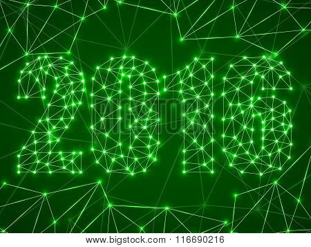 Text happy new year 2016 with glowing dots and lines network connections