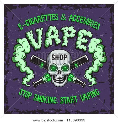 Colour vector illustration of vape smoking