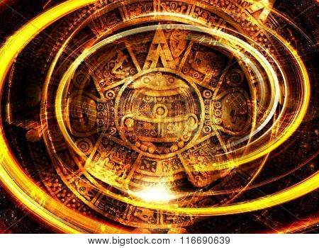 Ancient Mayan Calendar and  Music note, Cosmic space with stars, abstract color Background, computer