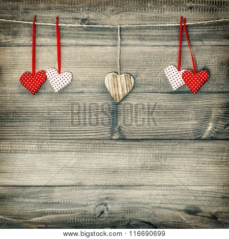 Red Hearts Hanging On Clothesline. Valentines Day