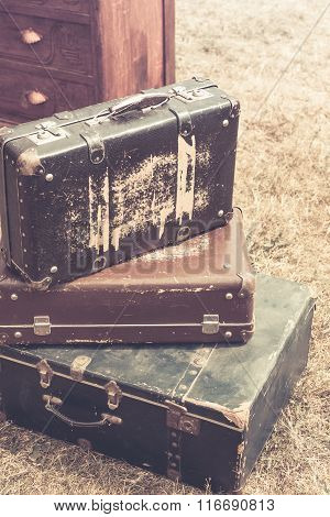 Old Suitcases Pile Retro Style