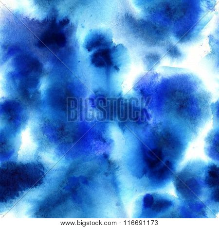 Abstract blue watercolor dye seamless pattern