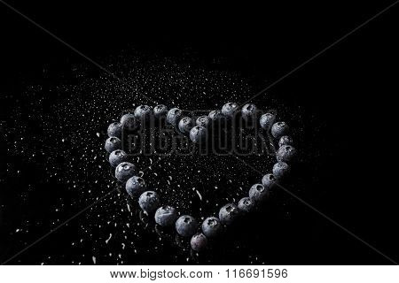 Blueberries hollow heart from high angle