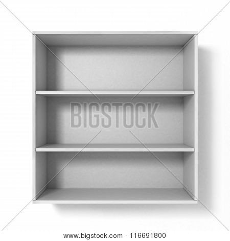 White Bookshelf With Three Sections Isolated On White Background