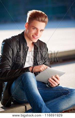 Boy With Tablet, Outside