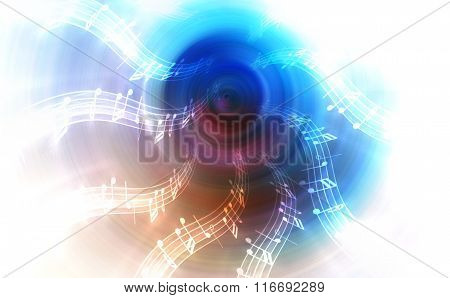 silhouette of music Audio Speaker and note, abstract background, Light Circle. Music concept.