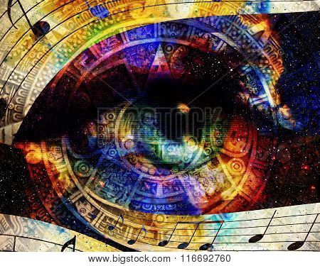 Ancient Mayan Calendar and woman eye with  Music note, abstract color Background, computer collage.
