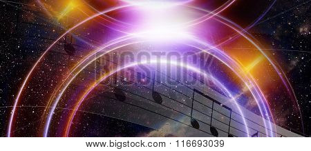 music note and Space and stars with abstrtact color background. And light circle.