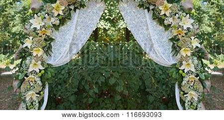 Beautiful Decorated Wedding Arch For The Ceremony Outdoor