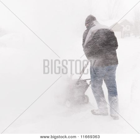 Snowblowing During Blizzard