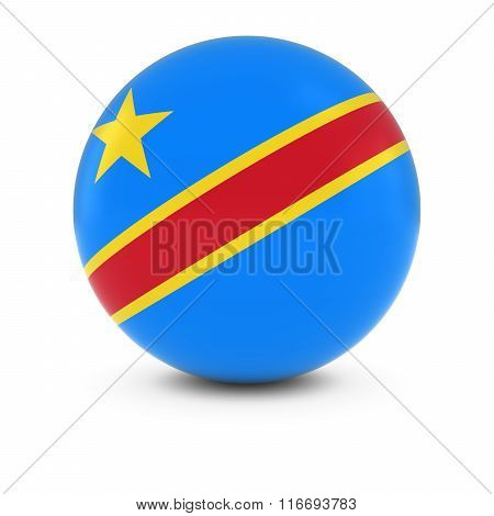 Congolese Flag Ball - Flag Of Dr Congo On Isolated Sphere