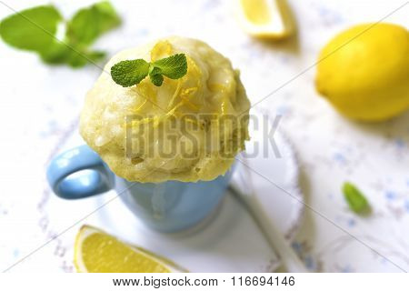 Lemon Mug Cake With Sugar Glaze.