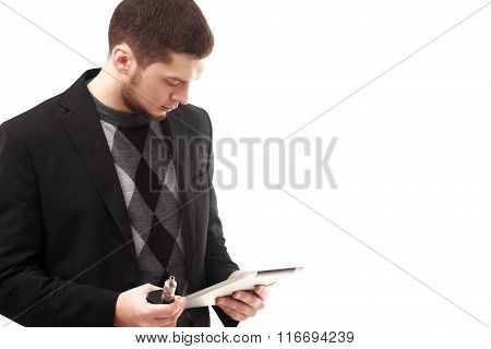 Businessman With Tablet And E-cigarette