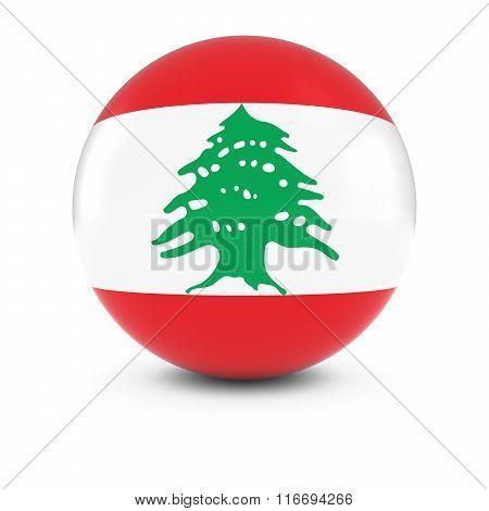Lebanese Flag Ball - Flag Of Lebanon On Isolated Sphere