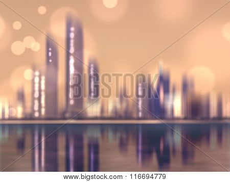 City lights skyline of Abu Dhabi at sunset - modern blurred skyscraper buildings at night in retro colors