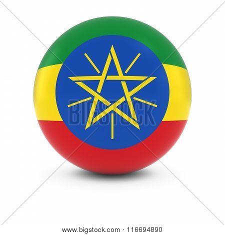 Ethiopian Flag Ball - Flag Of Ethiopia On Isolated Sphere