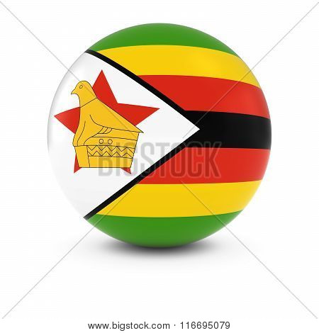 Zimbabwean Flag Ball - Flag Of Zimbabwe On Isolated Sphere