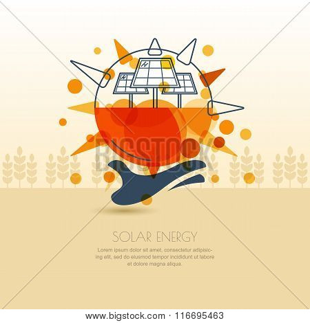 Human Hand Holding Sun With Solar Battery. Vector Outline Illustration Of Solar Alternative Energy G