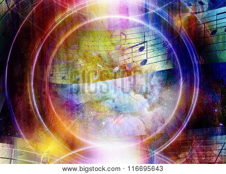 music note and abstrtact color background. spots background.