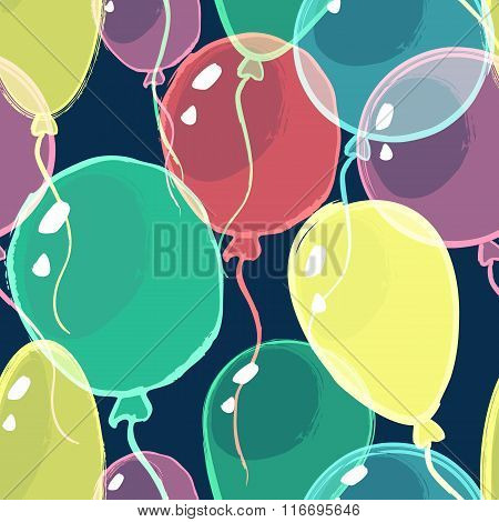 Vector Holiday Seamless Pattern. Transparent Watercolor Air Balloons On Black Background.