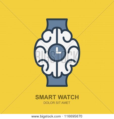Vector Logo Icon With Brain And Clock. Smart Watch Outline Flat Illustration.