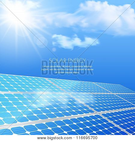 Close Up Of Solar Battery, Power Generation Technology. Realistic Vector Illustration.