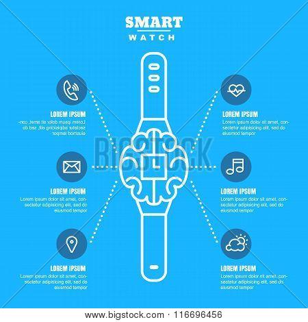Vector Outline Illustration Of Smart Watch On Blue Background.