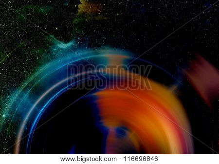 Audio music Speaker with color effect. Cosmic space and stars, cosmic abstract background.