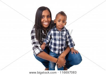 African American Mother With  Her Little Son Isolated On White Background
