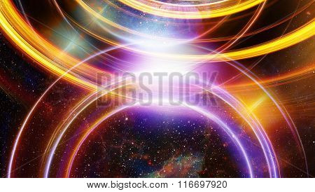 Cosmic space and stars, blue cosmic abstract background and light circle.