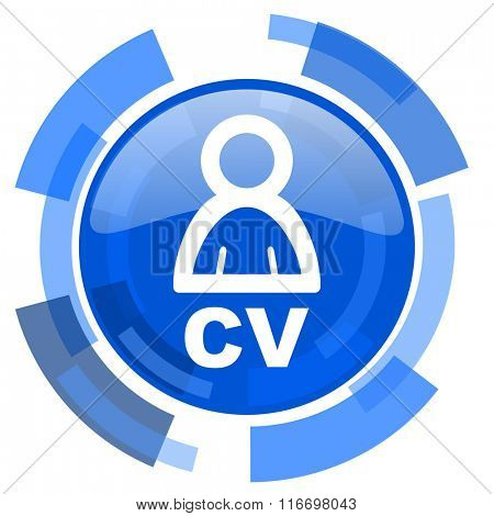 cv blue glossy circle modern web icon