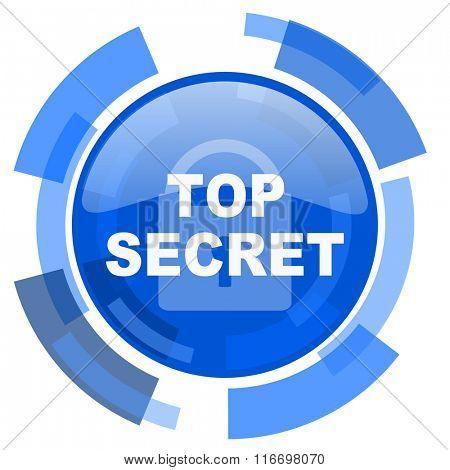 top seret blue glossy circle modern web icon